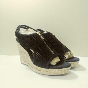EURO SOFT BY SOFFT, Black Suede Wedge Sandals Sz 8